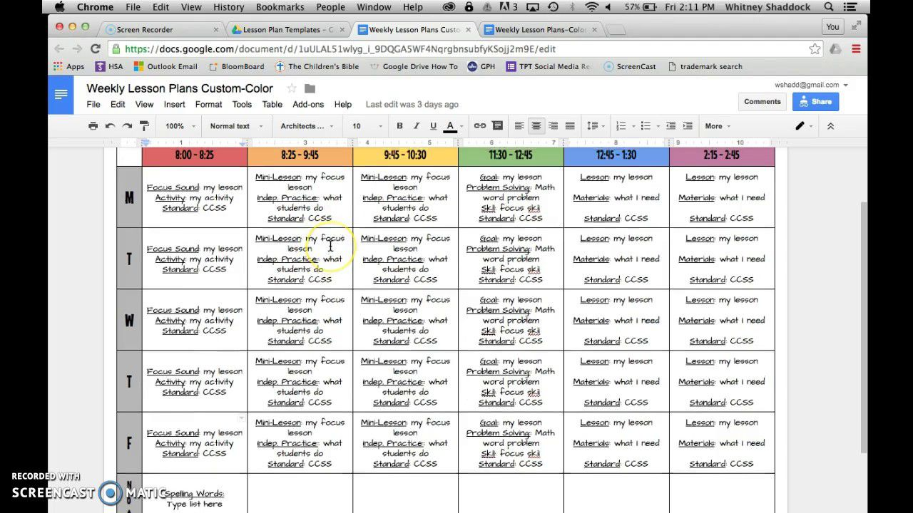 006 Frightening How To Make A Lesson Plan Template In Google Doc Design  DocsFull