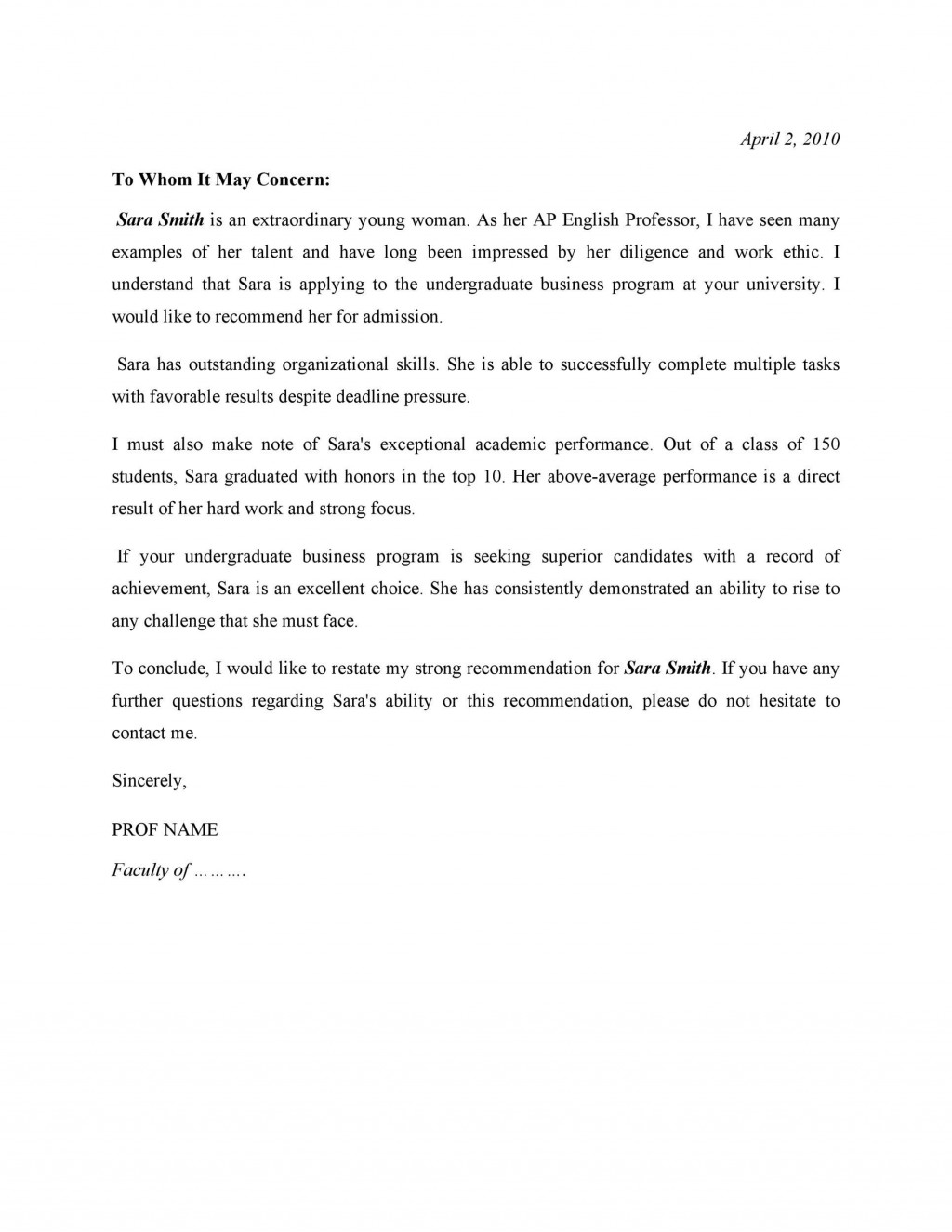 006 Frightening Letter Of Recommendation Template For College Student Image  Sample From ProfessorLarge