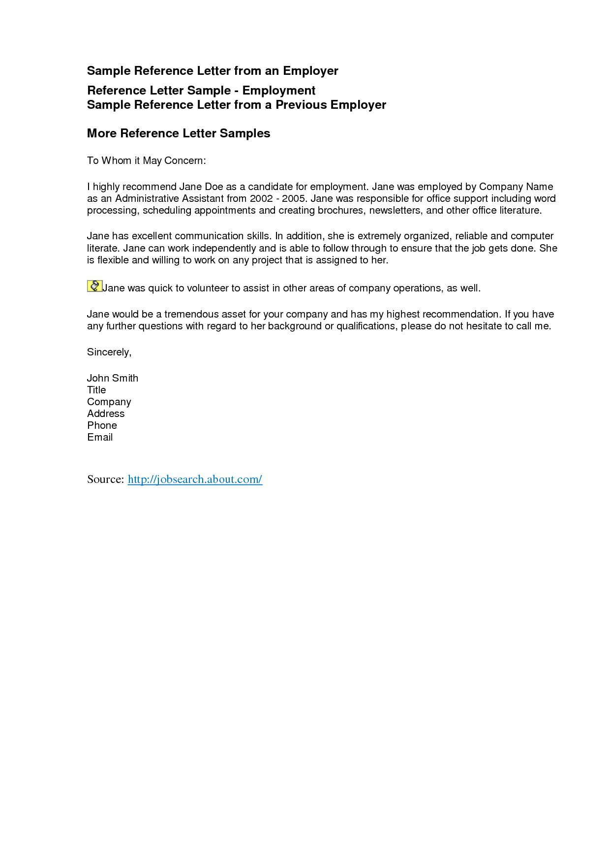 006 Frightening Professional Reference Letter Template Word Highest Quality Full