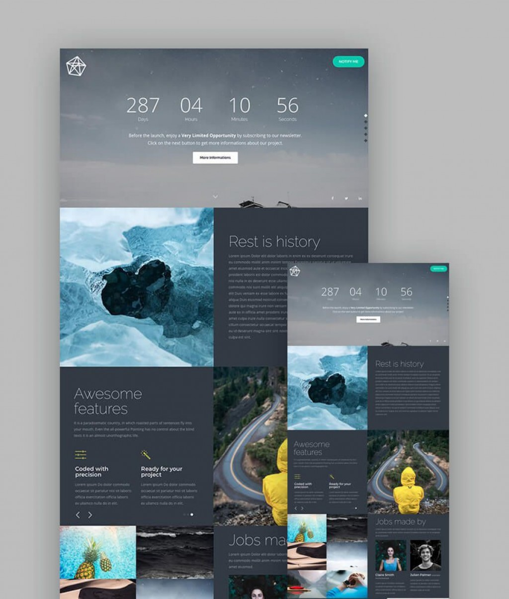 006 Frightening Responsive Landing Page Template High Definition  Templates Html5 Free Download Wordpres HtmlLarge