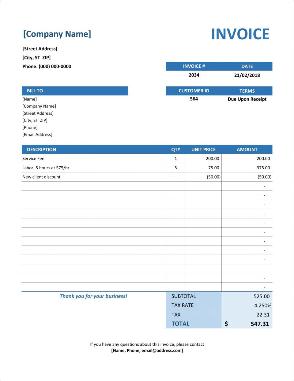 006 Frightening Simple Invoice Template Excel Download Free High Definition 960