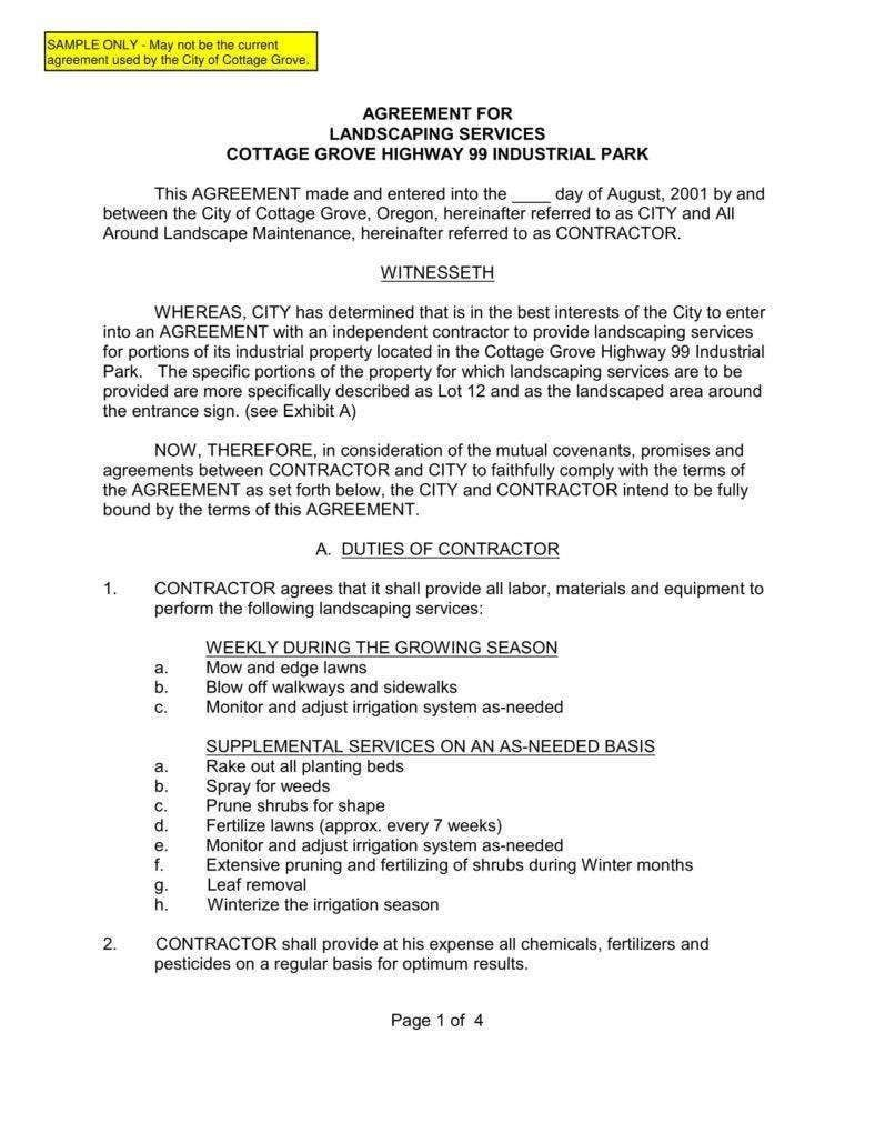006 Frightening Snow Removal Contract Word Doc High Resolution Full