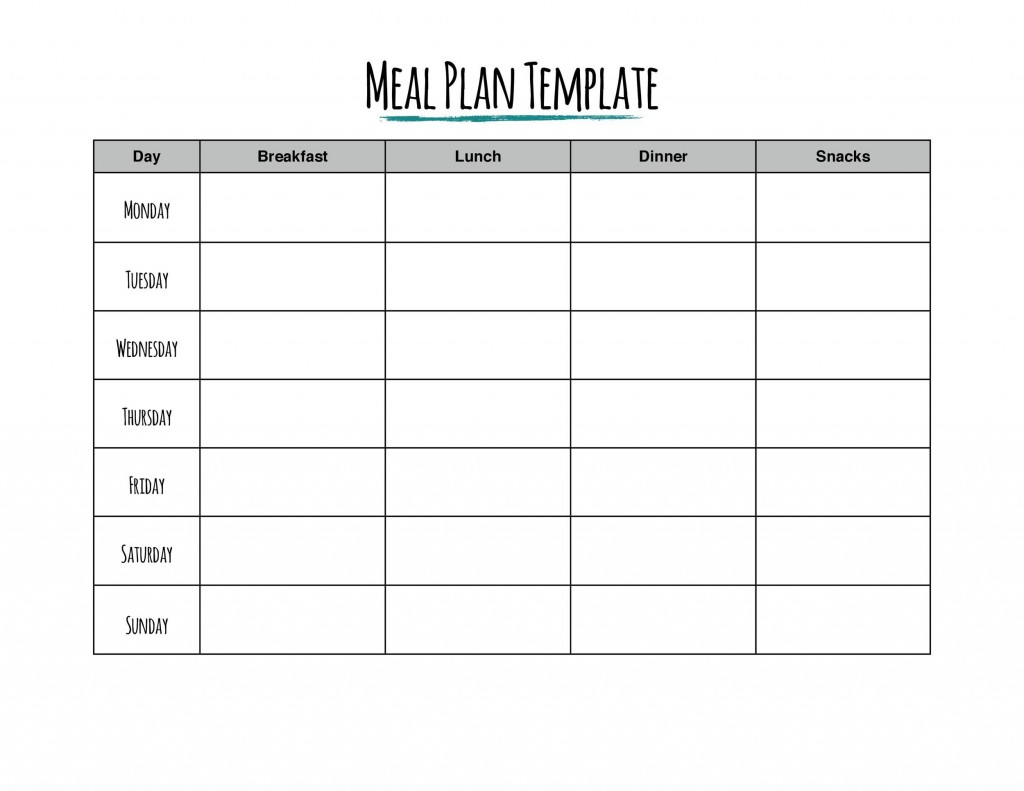 006 Frightening Weekly Eating Plan Template Concept  Food Planner Excel Meal DownloadLarge