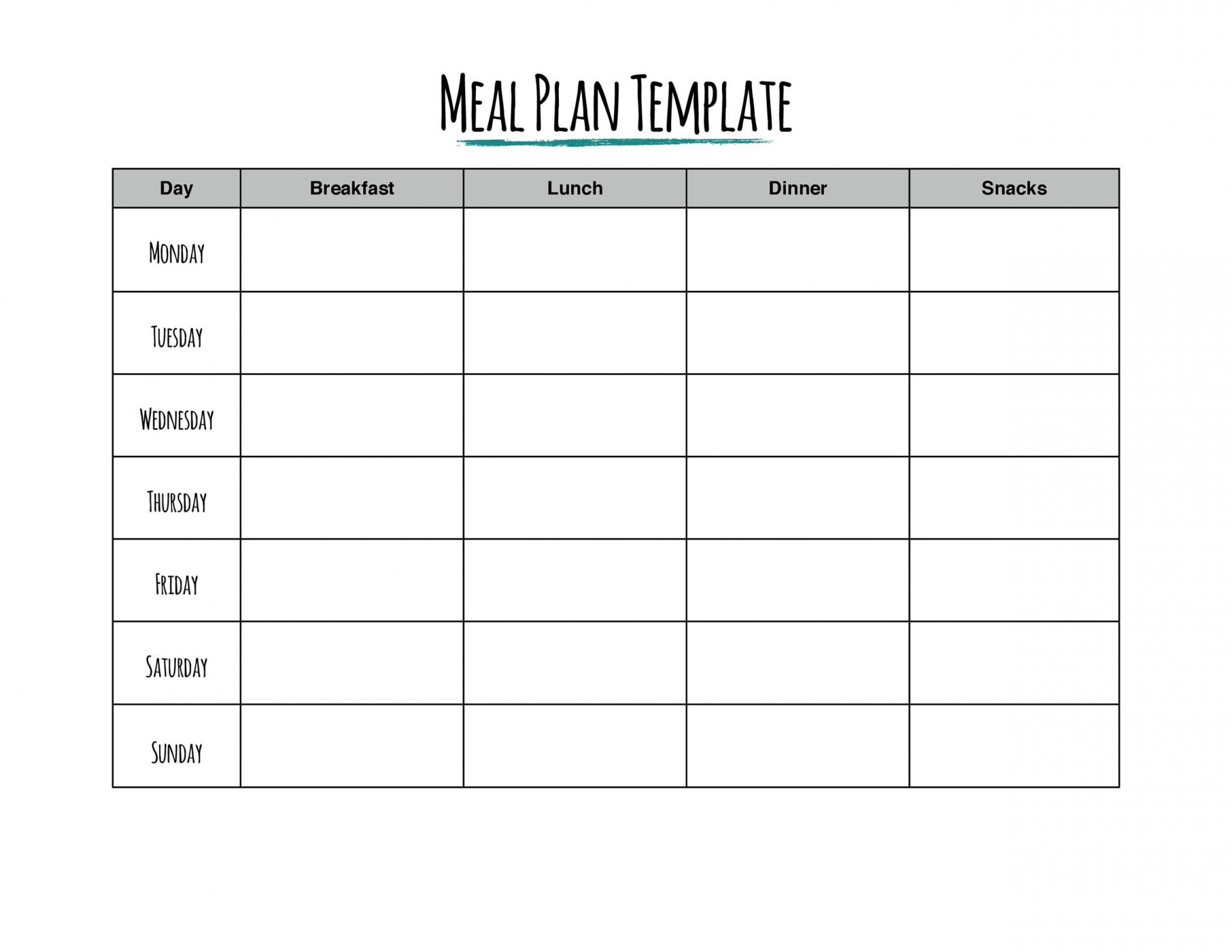 006 Frightening Weekly Eating Plan Template Concept  Food Planner Excel Meal Download1920