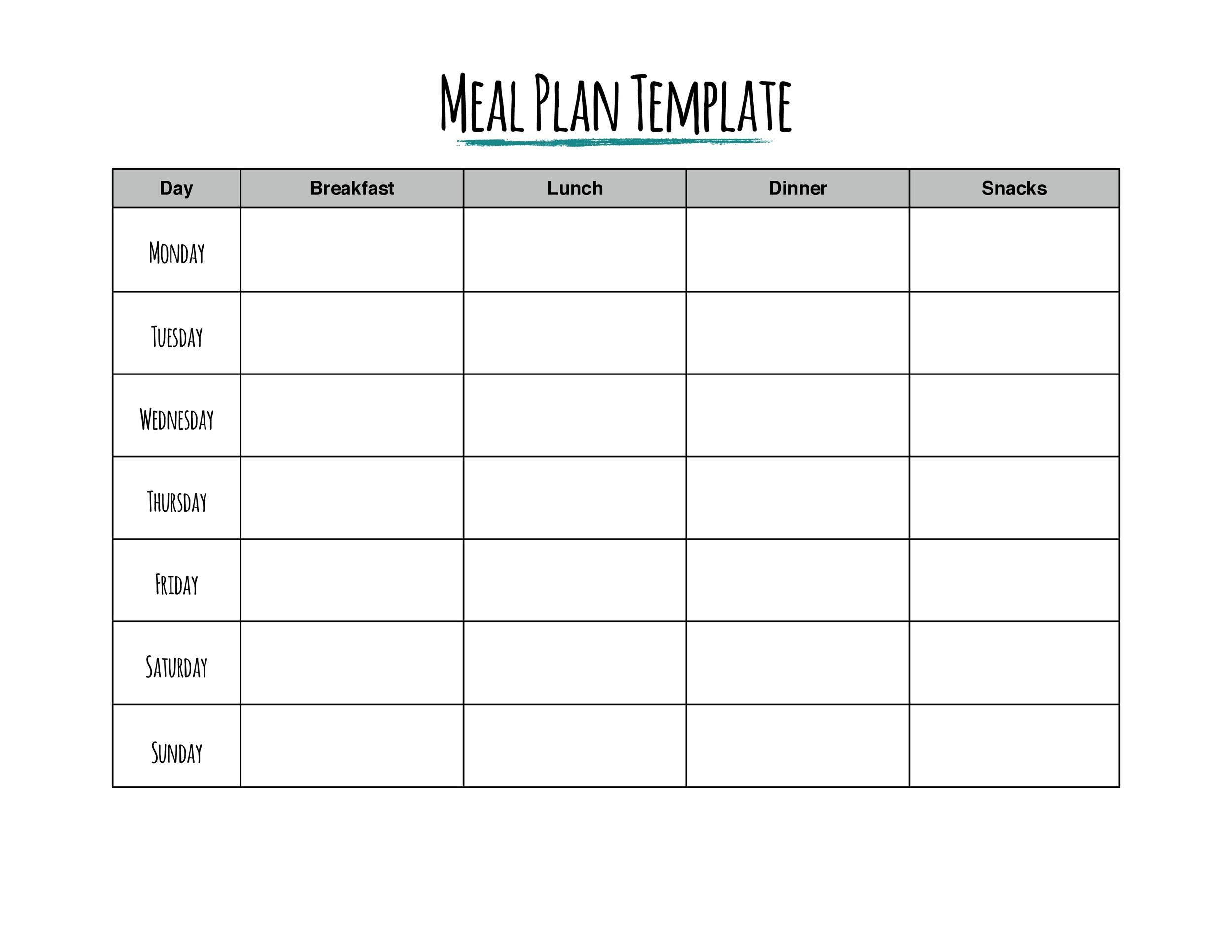 006 Frightening Weekly Eating Plan Template Concept  Food Planner Excel Meal DownloadFull