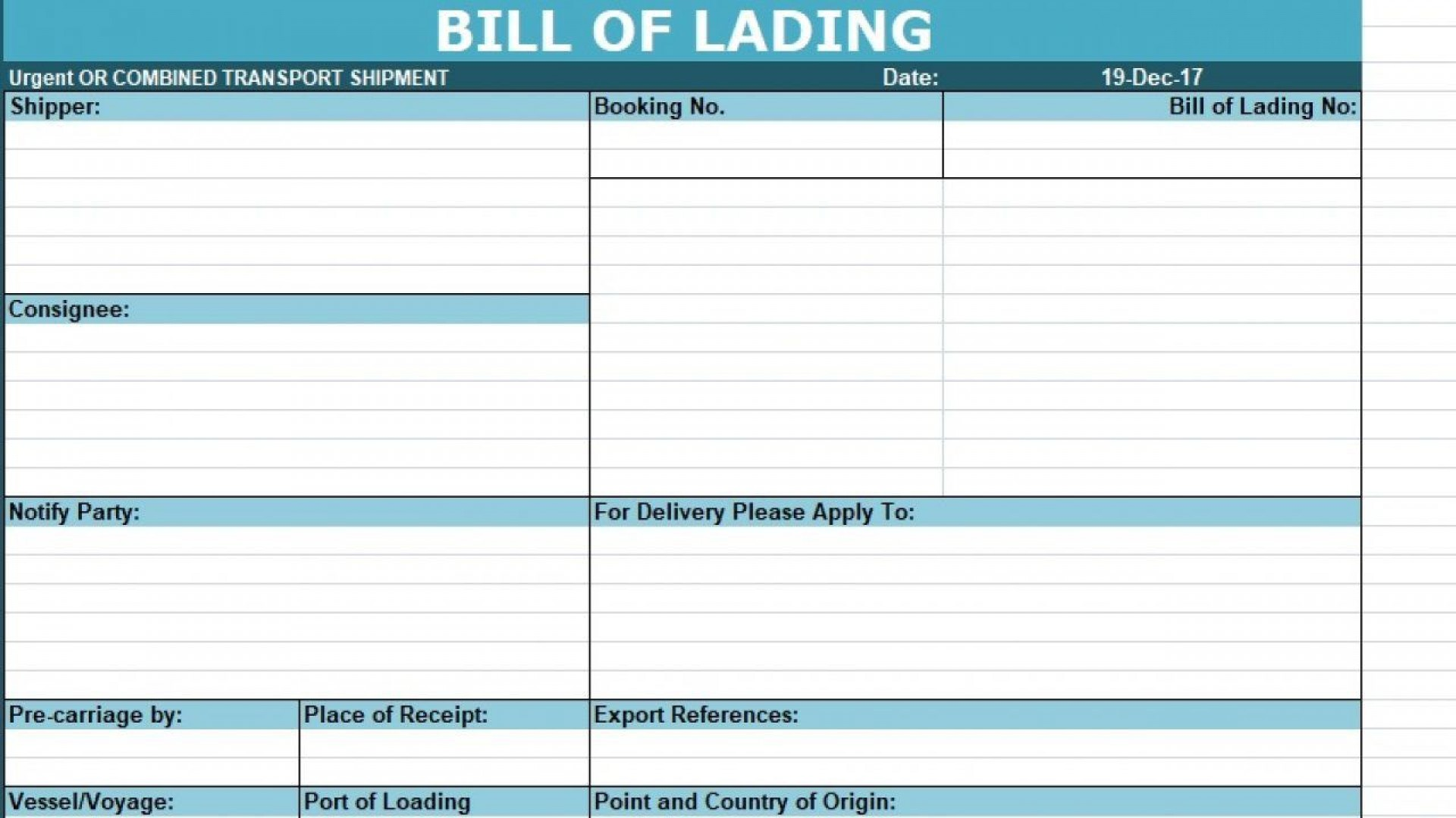 006 Imposing Bill Of Lading Template Excel Example  Simple House Format In1920