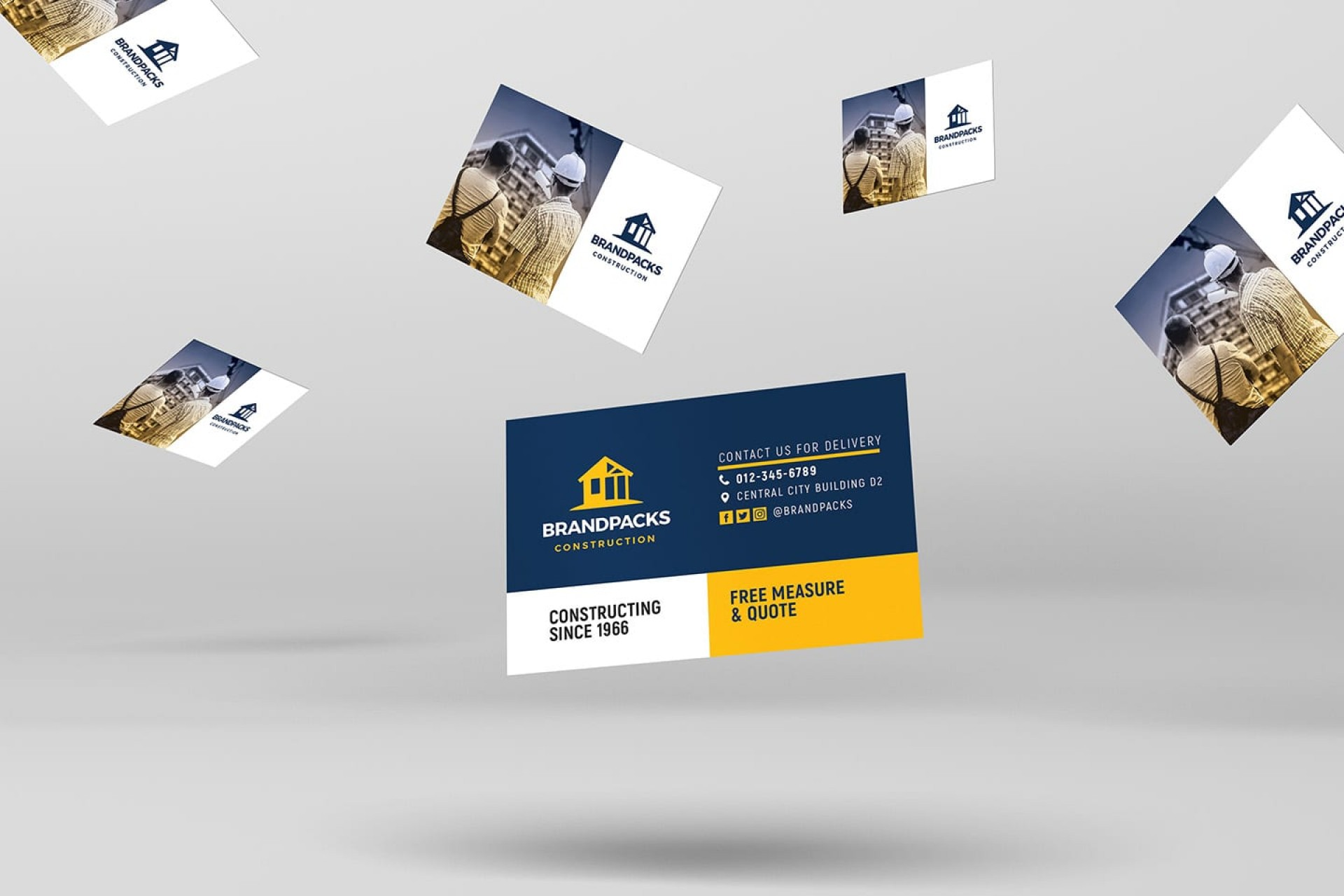006 Imposing Construction Busines Card Template High Resolution  Templates Visiting Company Format Design Psd1920