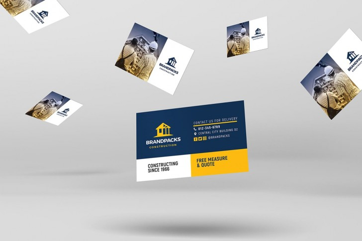006 Imposing Construction Busines Card Template High Resolution  Company Visiting Format Word For Material728
