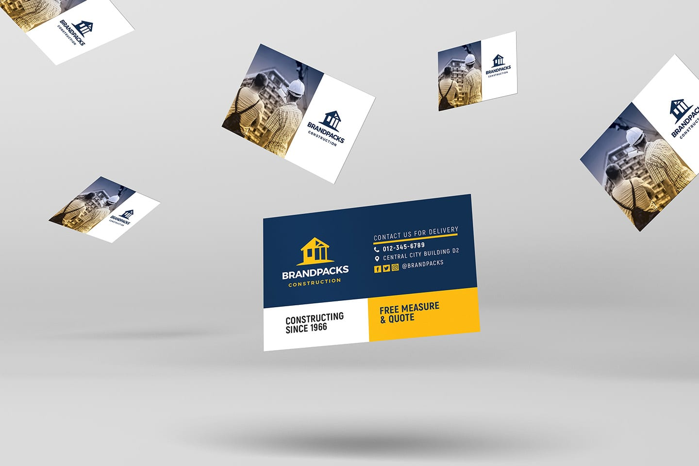 006 Imposing Construction Busines Card Template High Resolution  Templates Visiting Company Format Design PsdFull