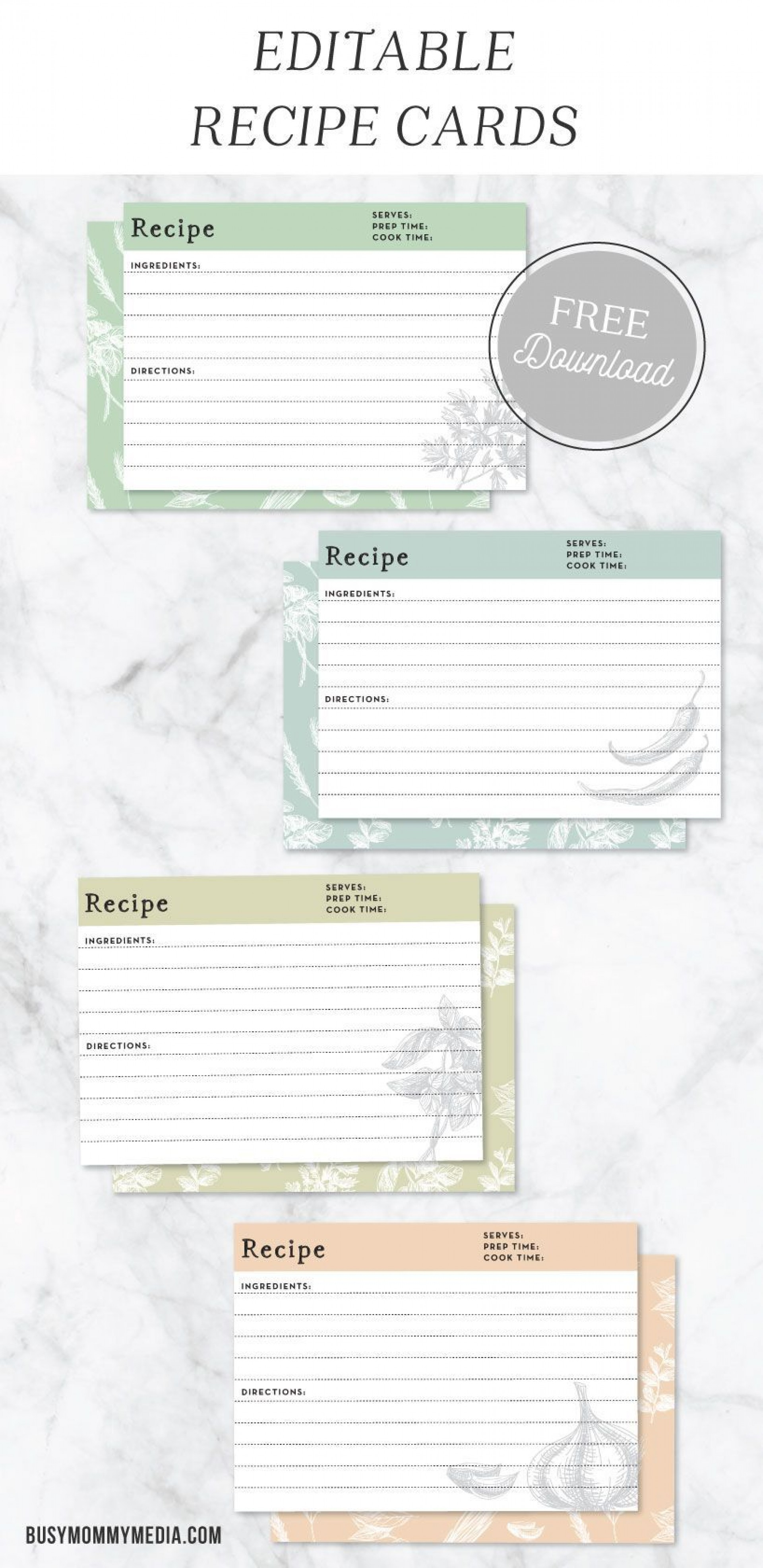 006 Imposing Editable Recipe Card Template Concept  Free For Microsoft Word 4x6 Page1920