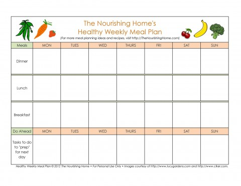 006 Imposing Excel Weekly Meal Planner Template Highest Quality  With Grocery List Downloadable480