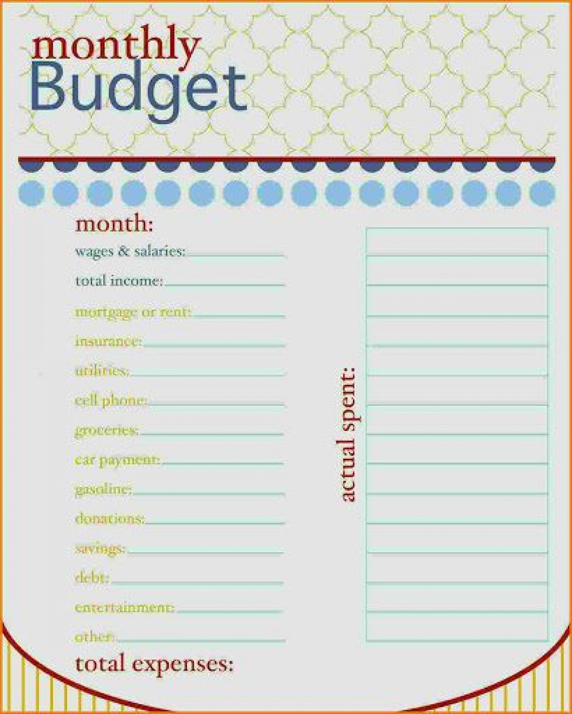 006 Imposing Free Printable Monthly Household Budget Template High Resolution  Expense1920