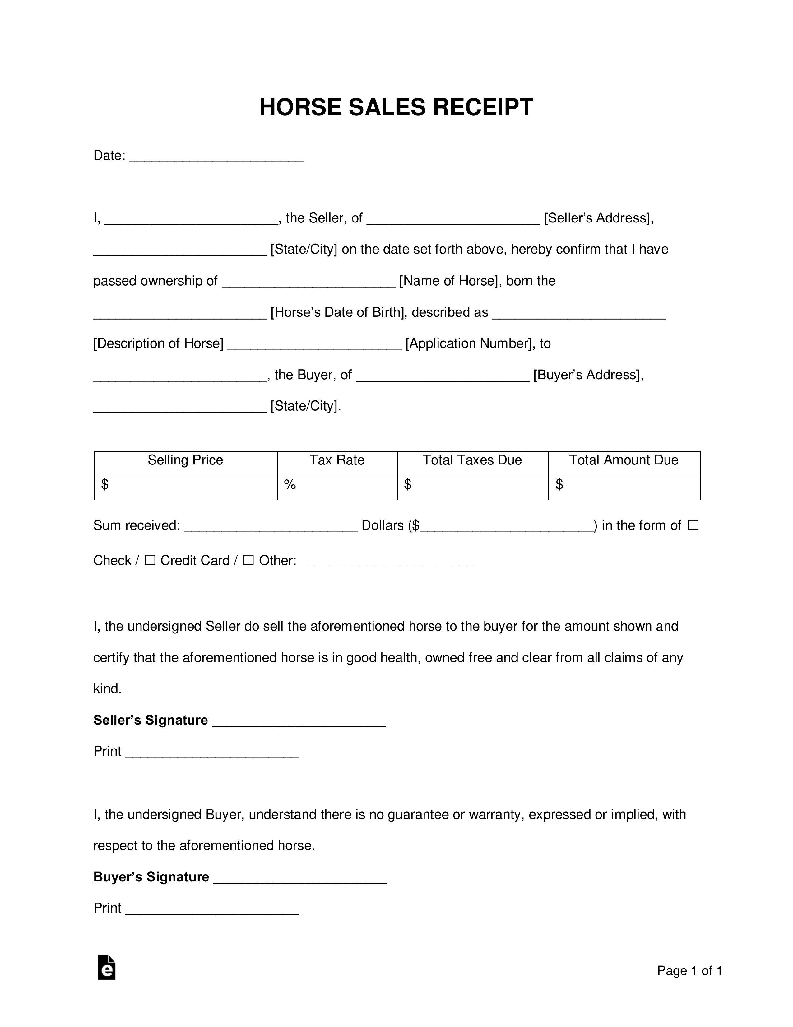 006 Imposing Horse Bill Of Sale Template Concept  Australia AgreementFull