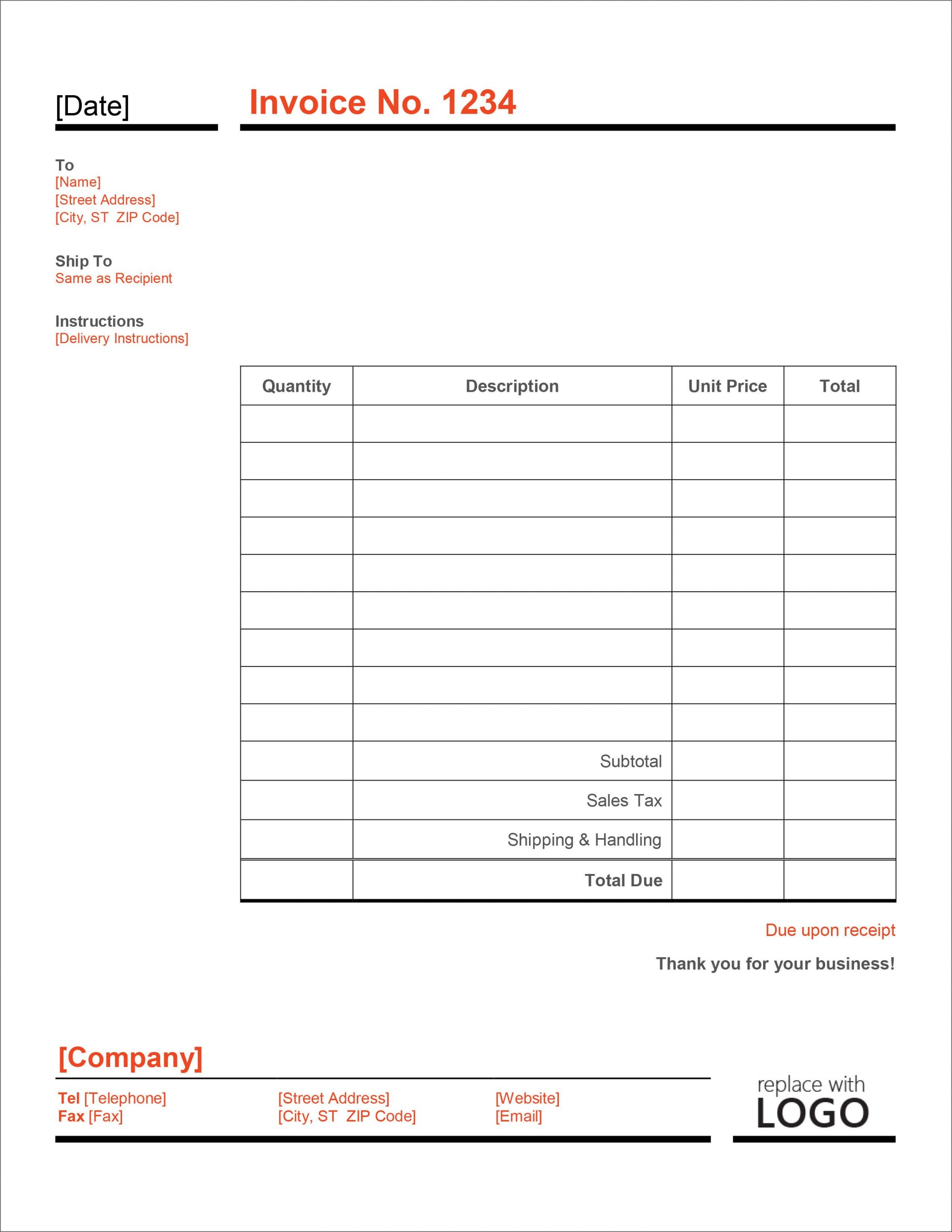 006 Imposing Microsoft Excel Invoice Template Free High Definition  Service Download1920