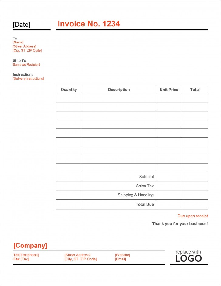 006 Imposing Microsoft Excel Invoice Template Free High Definition  Service Download728