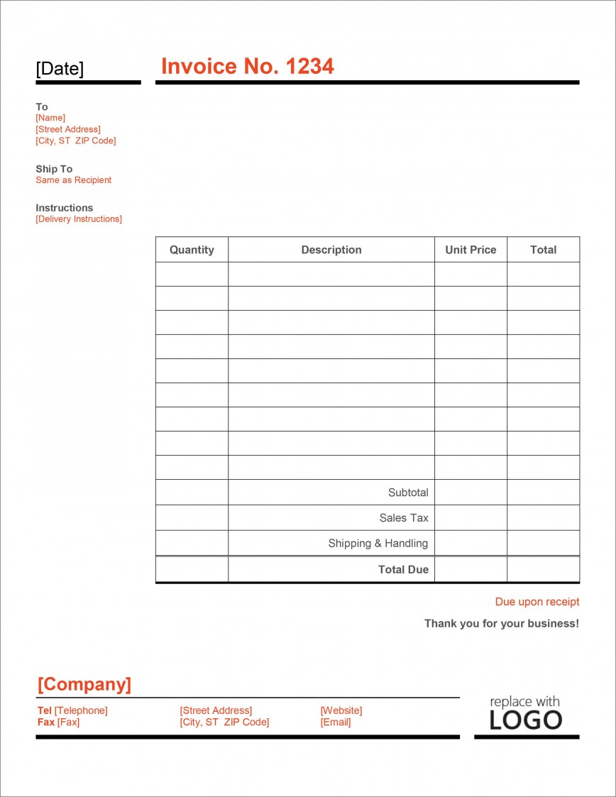 006 Imposing Microsoft Excel Invoice Template Free High Definition  Service Download868