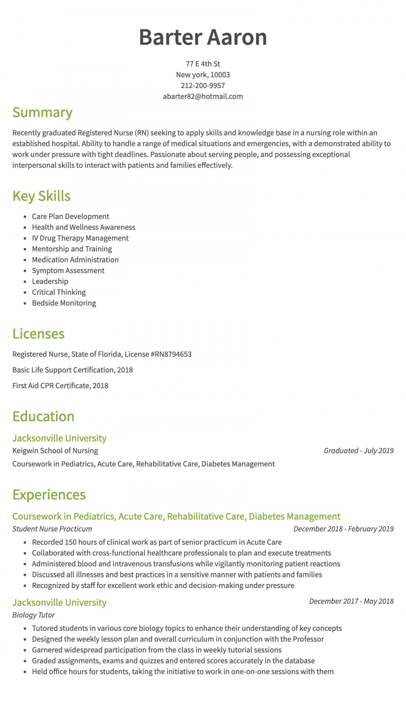 006 Imposing New Rn Resume Template High Def 1400