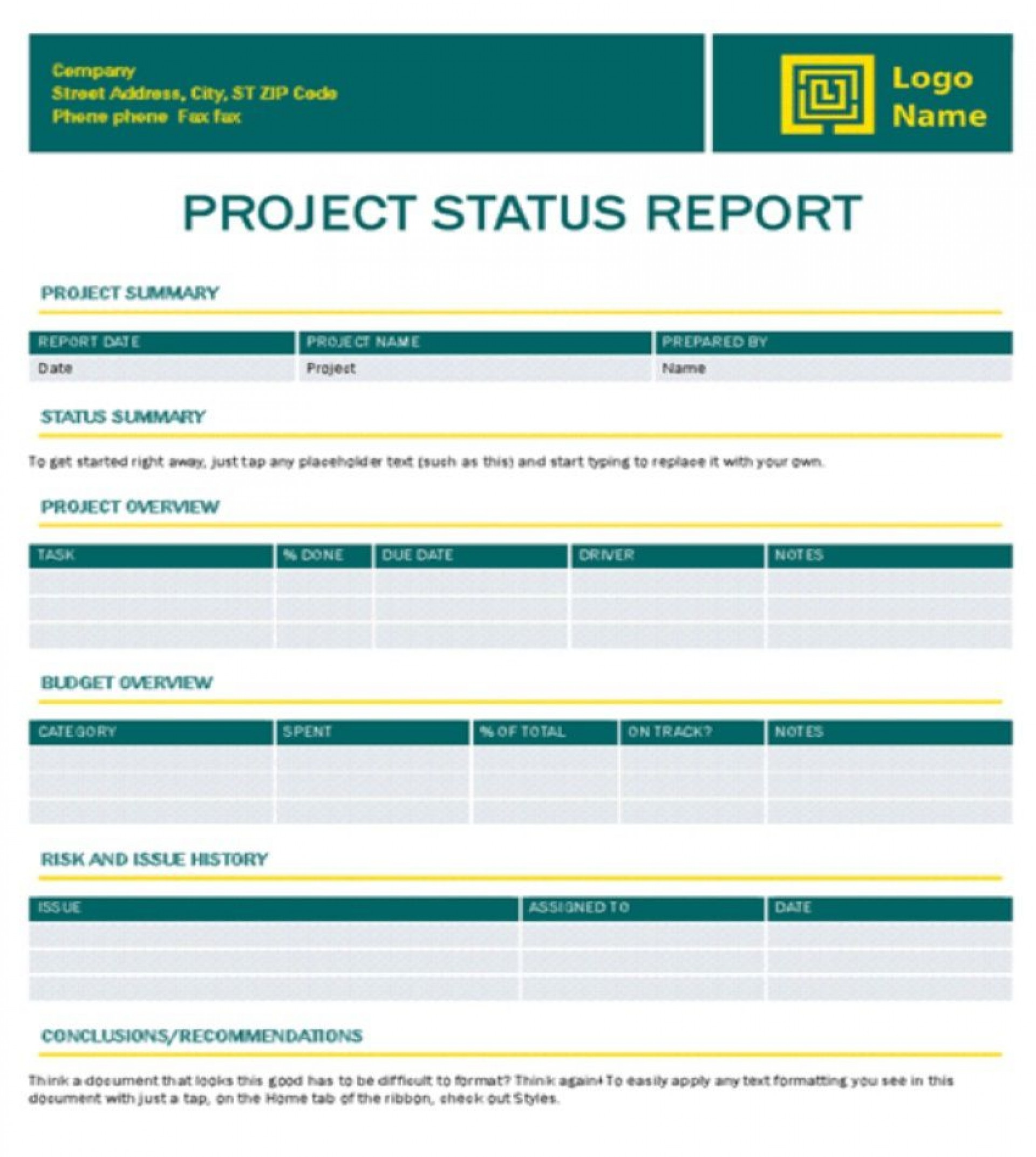 006 Imposing Project Management Weekly Report Template Excel High Def  Statu Progres1920