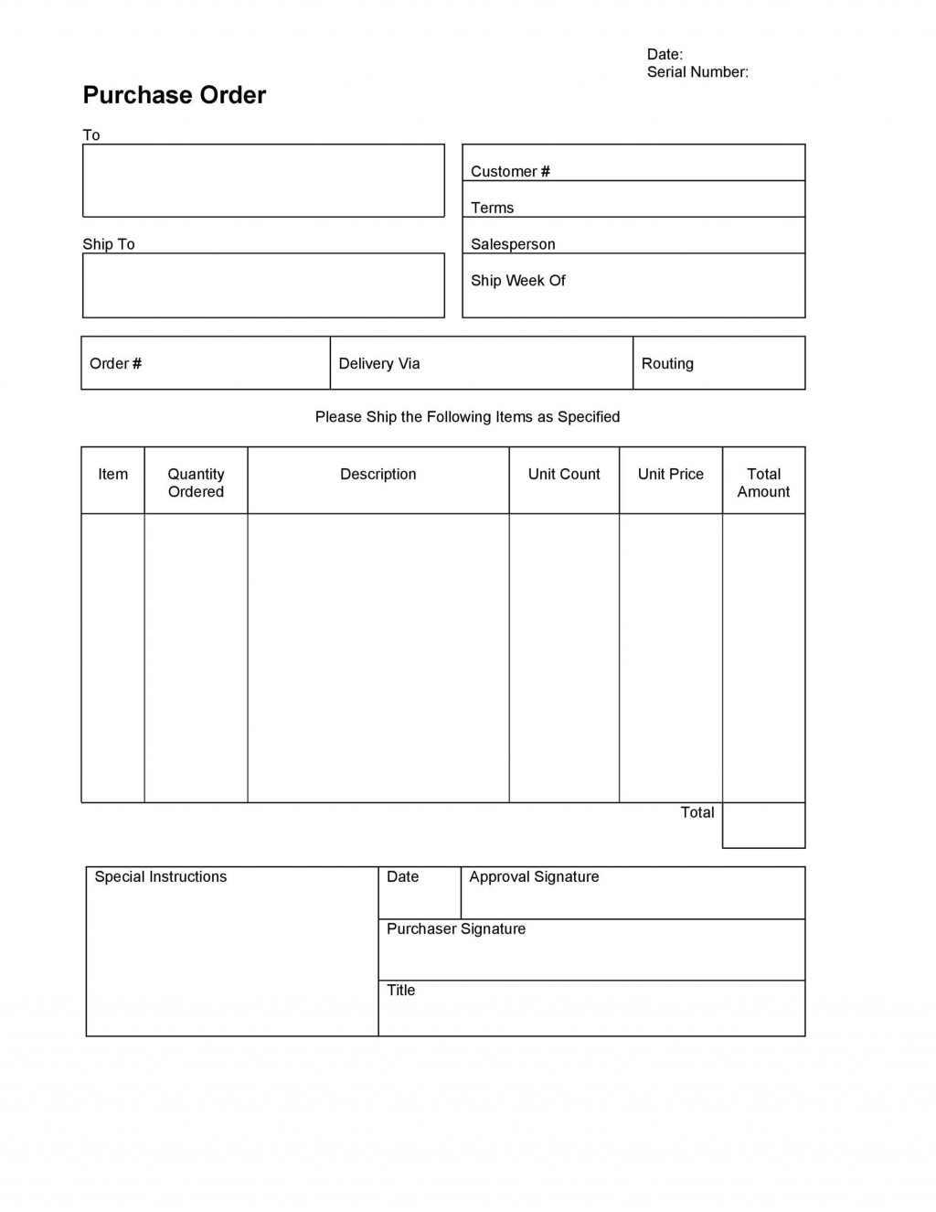 006 Imposing Purchase Order Template Free High Definition  Log M Acces BlanketLarge