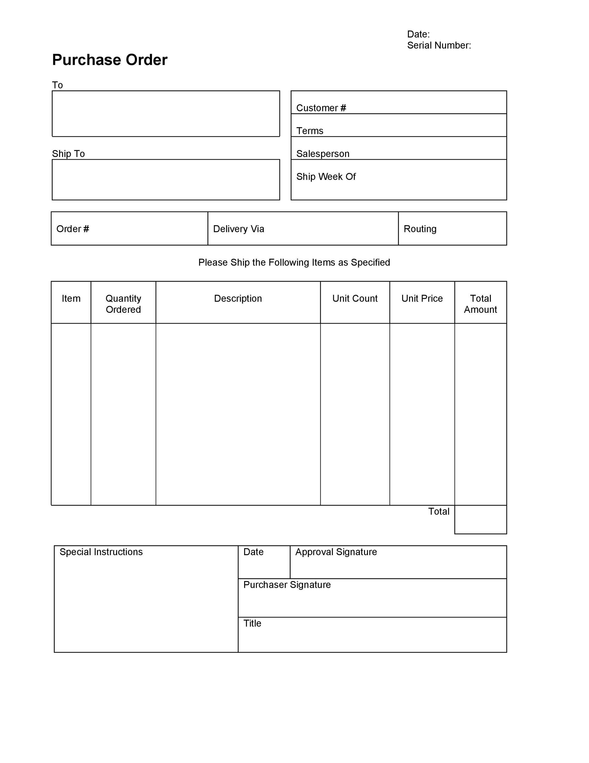 006 Imposing Purchase Order Template Free High Definition  Log M Acces BlanketFull