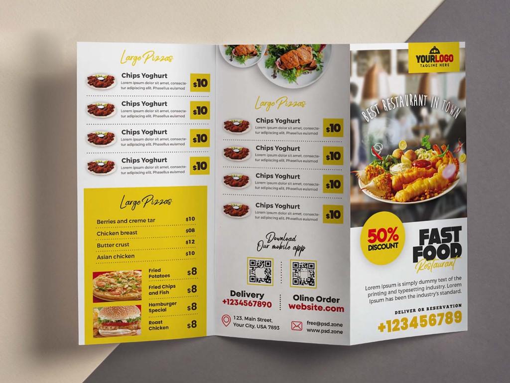 006 Imposing Tri Fold Menu Template Picture  Templates Restaurant Tri-fold Food Free PsdLarge