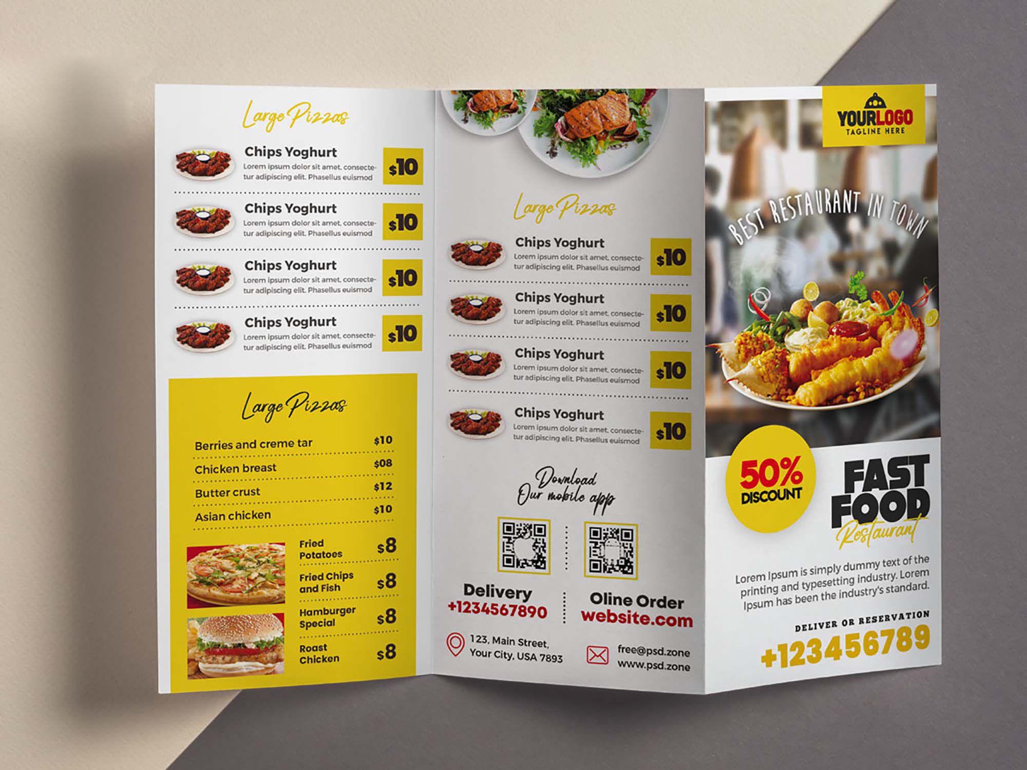 006 Imposing Tri Fold Menu Template Picture  Templates Restaurant Tri-fold Food Free PsdFull