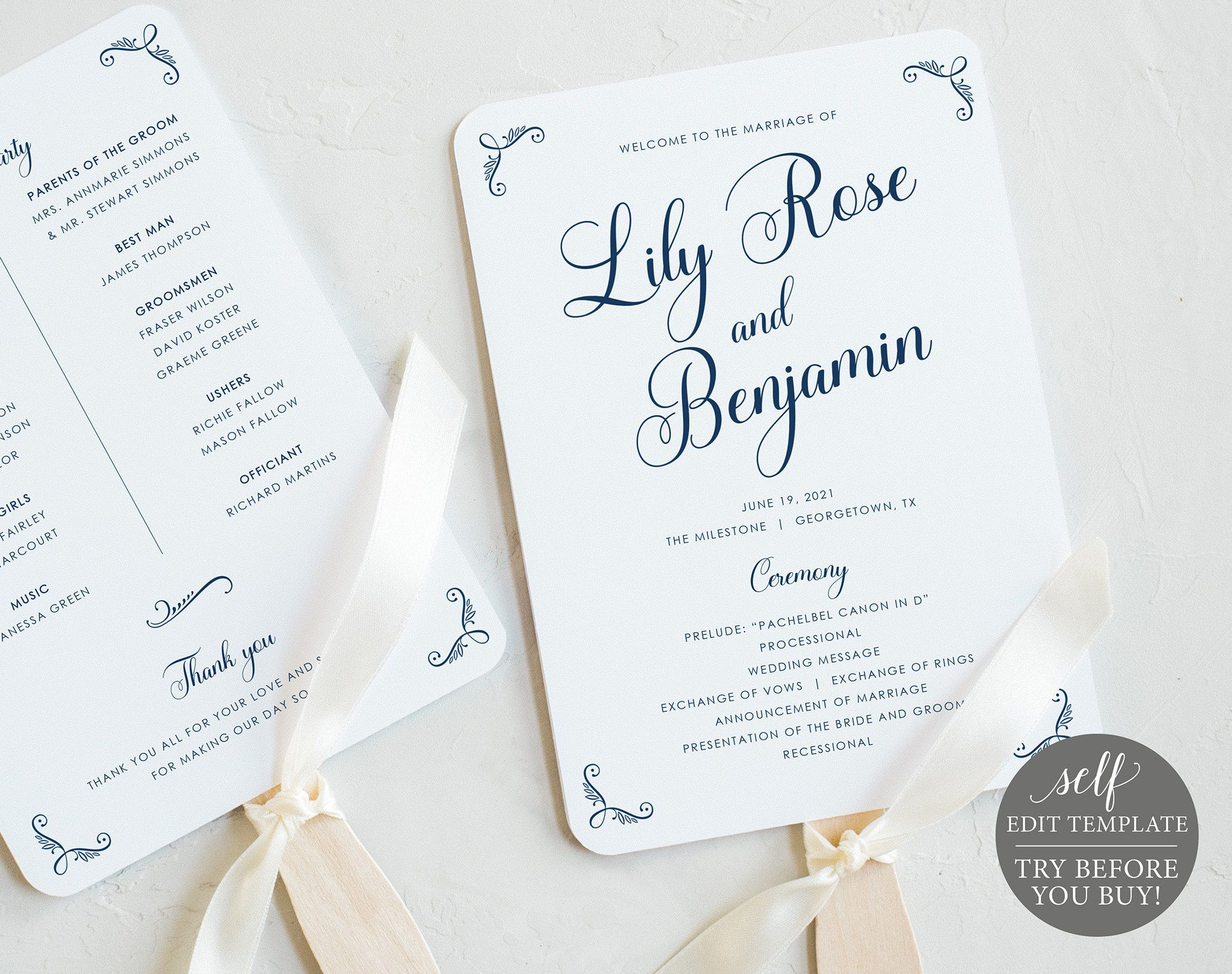 006 Imposing Wedding Program Fan Template Inspiration  Free Word Paddle Downloadable That Can Be PrintedFull