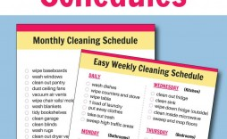 006 Imposing Weekly Cleaning Schedule Format High Definition  Template Free Sample