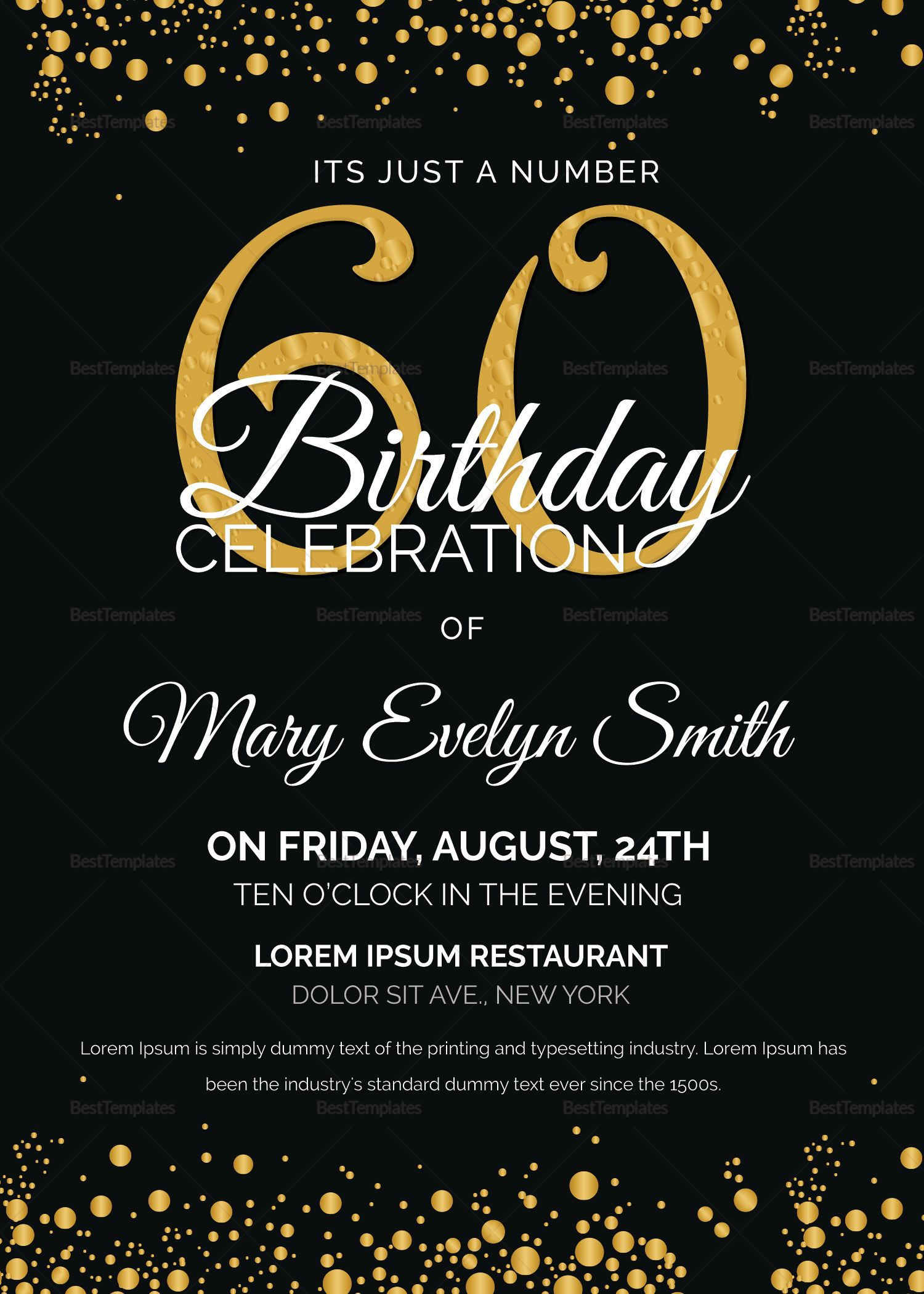 006 Impressive 60th Birthday Invitation Template Example  Card Free DownloadFull