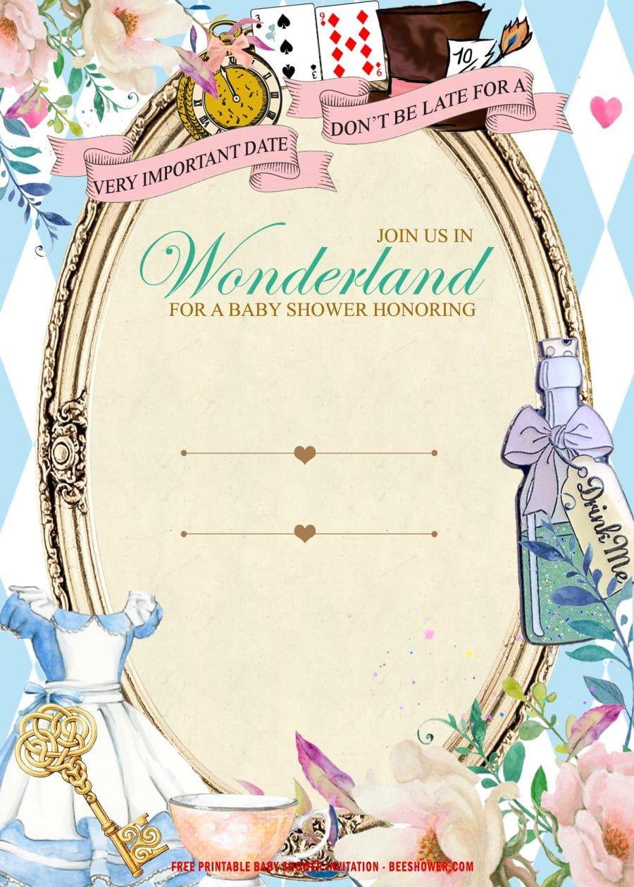 006 Impressive Alice In Wonderland Invitation Template Download Example  FreeFull