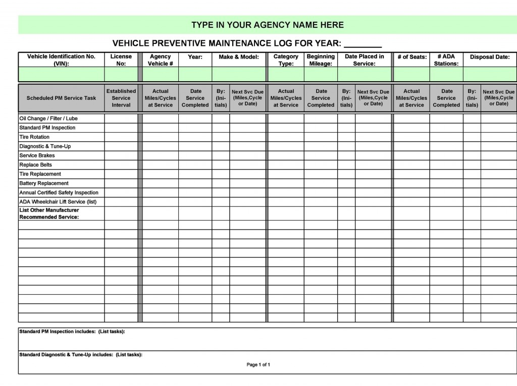 006 Impressive Car Maintenance Schedule Template Highest Clarity  Vehicle Preventive Excel LogLarge