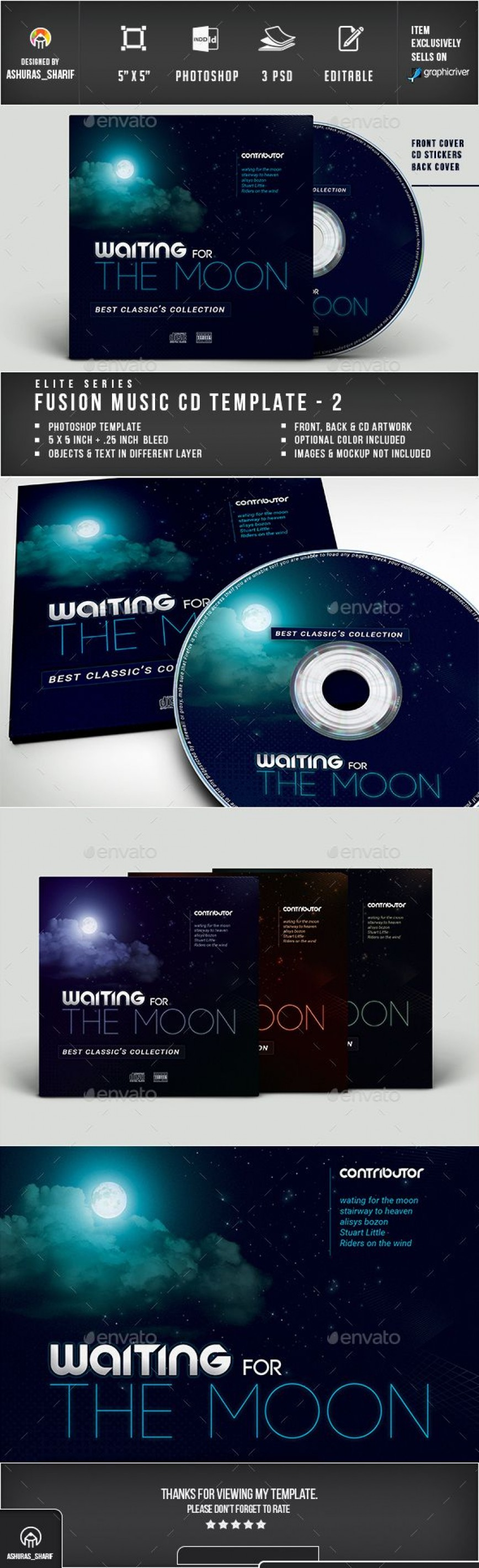 006 Impressive Cd Cover Design Template Photoshop Example  Label Psd Free868