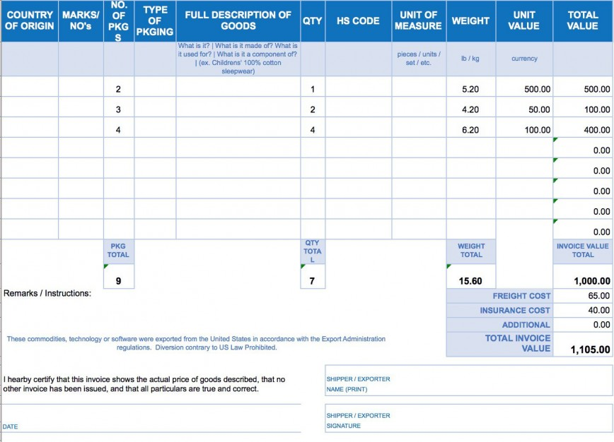 006 Impressive Commercial Invoice Template Excel Image  International Free Download