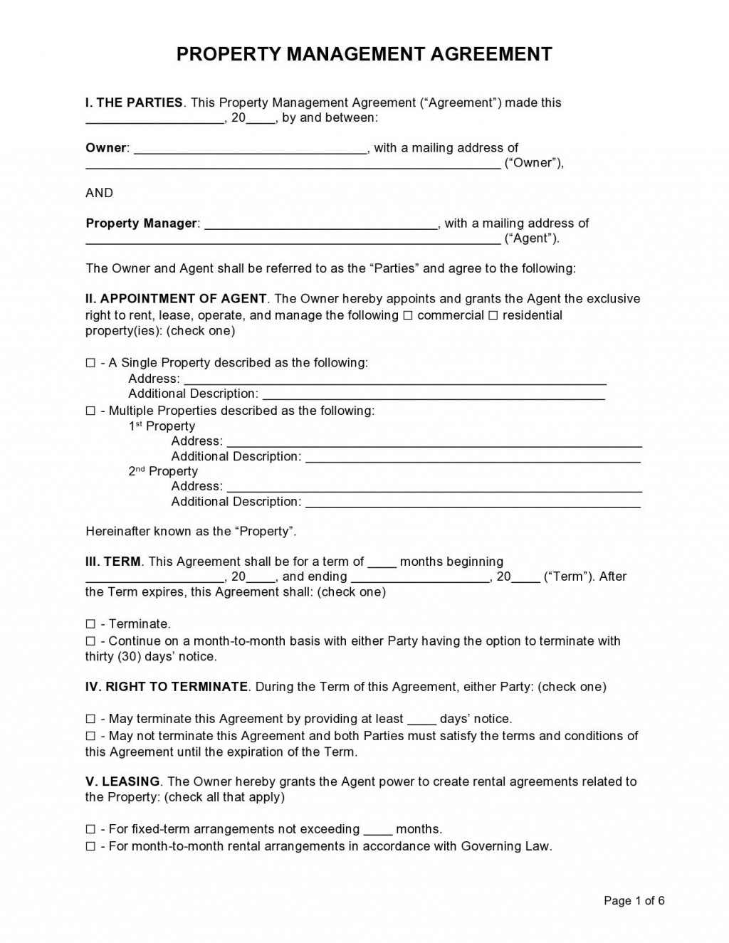 006 Impressive Commercial Property Management Agreement Template Uk Picture Large