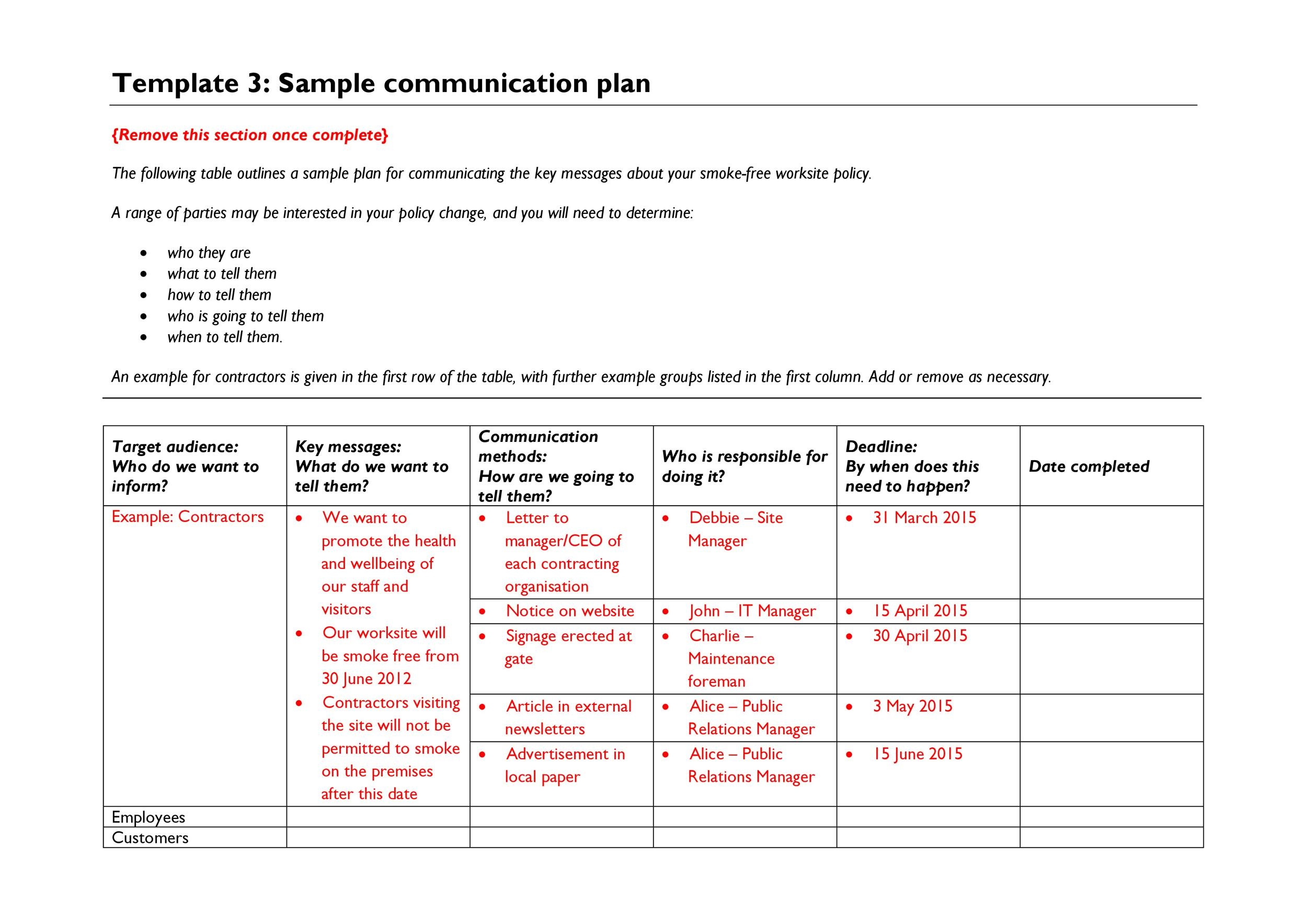 006 Impressive Communication Plan Template Excel Highest Clarity  Marketing EventFull