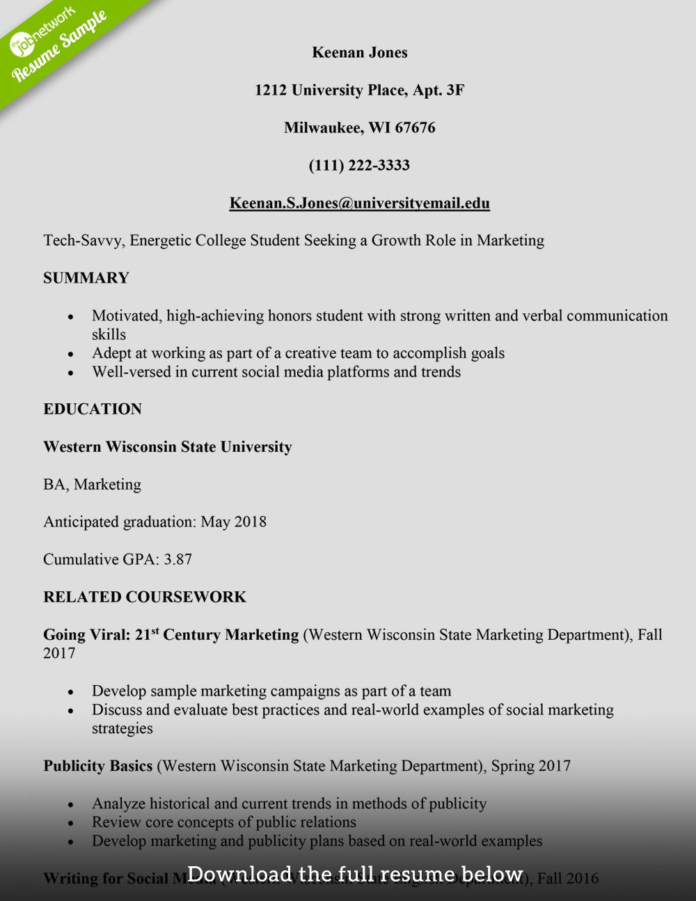 Current College Student Resume Template Addictionary