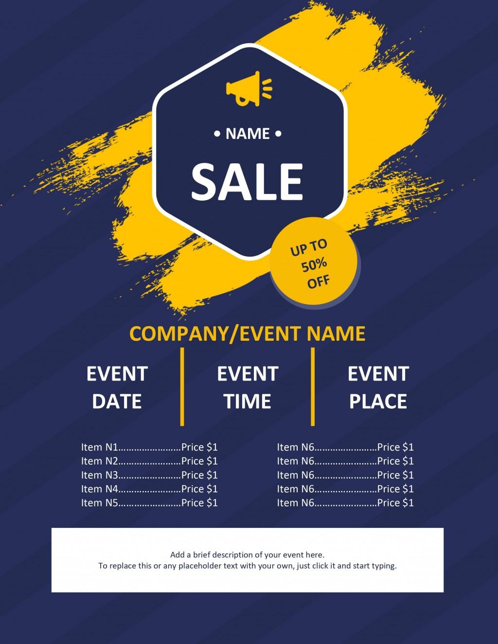 006 Impressive Event Flyer Template Free Word Sample Large