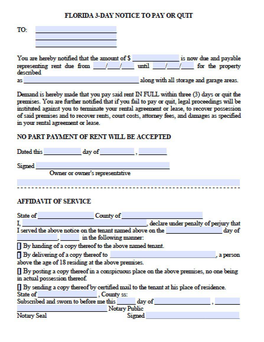006 Impressive Eviction Notice Florida Template High Resolution  15 Day Free PrintableFull