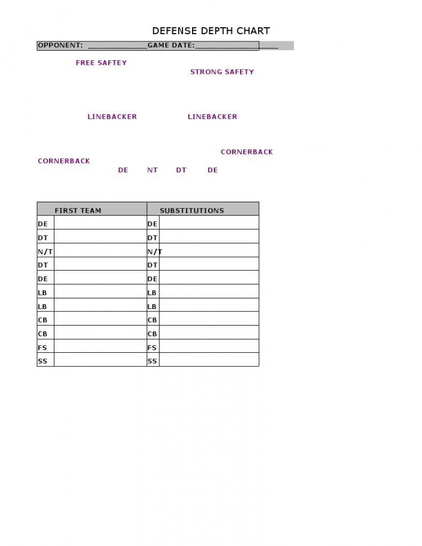 Football Depth Chart Template Excel Addictionary
