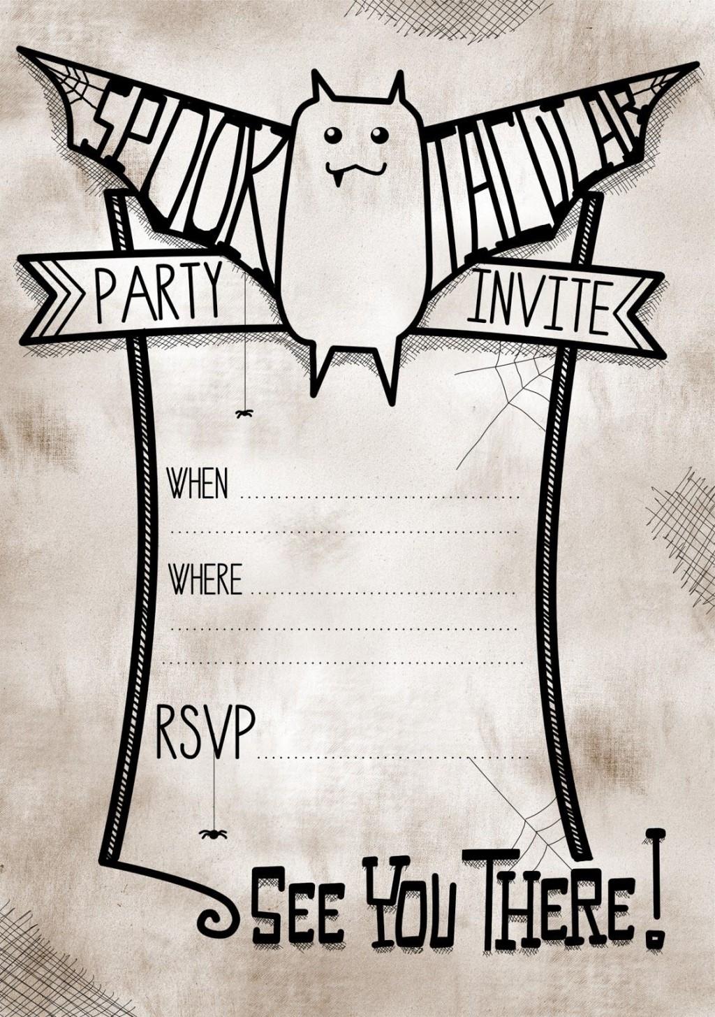 006 Impressive Free Halloween Invite Template Idea  Templates Party Invitation For WordLarge
