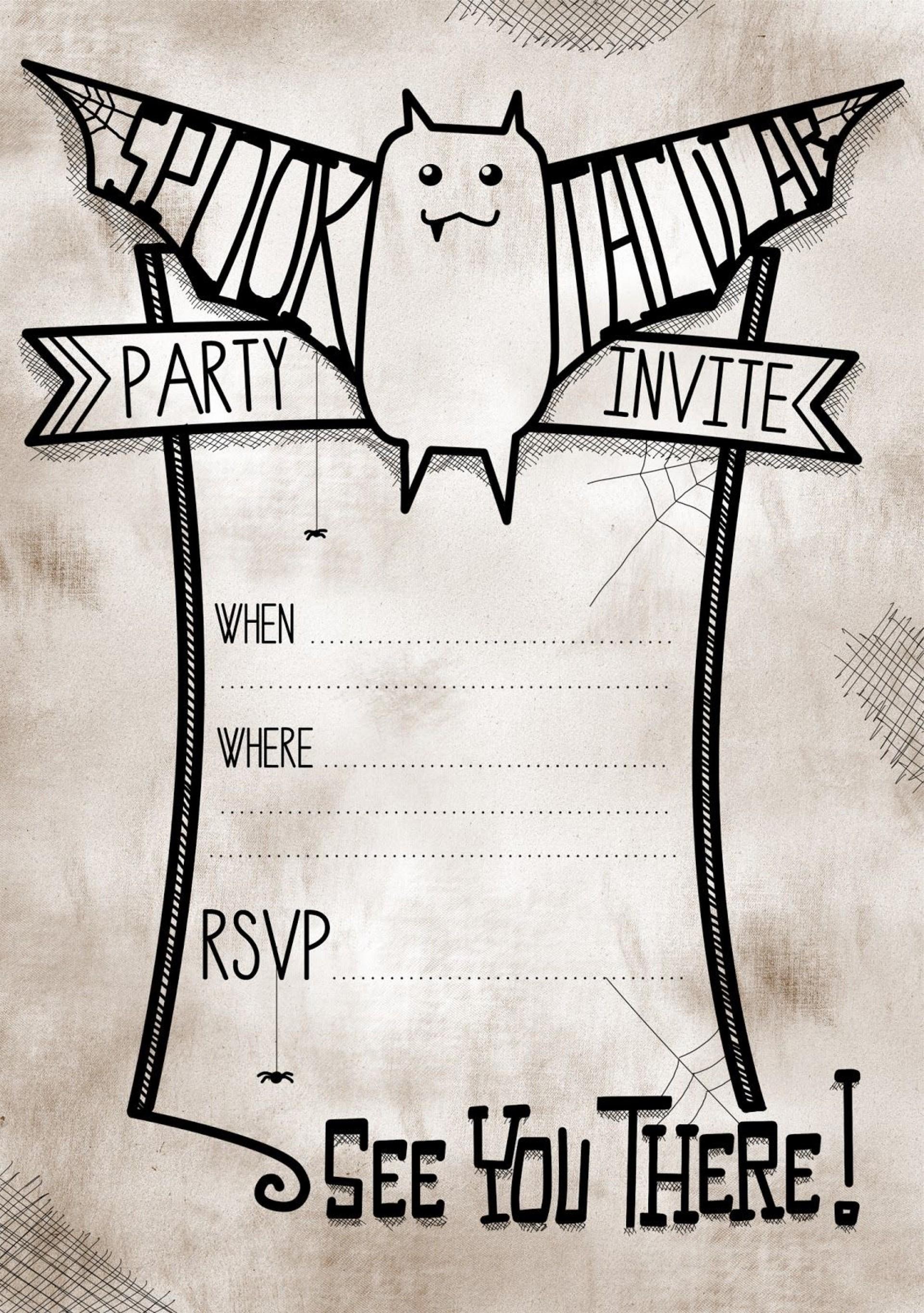 006 Impressive Free Halloween Invite Template Idea  Templates Party Invitation For Word1920