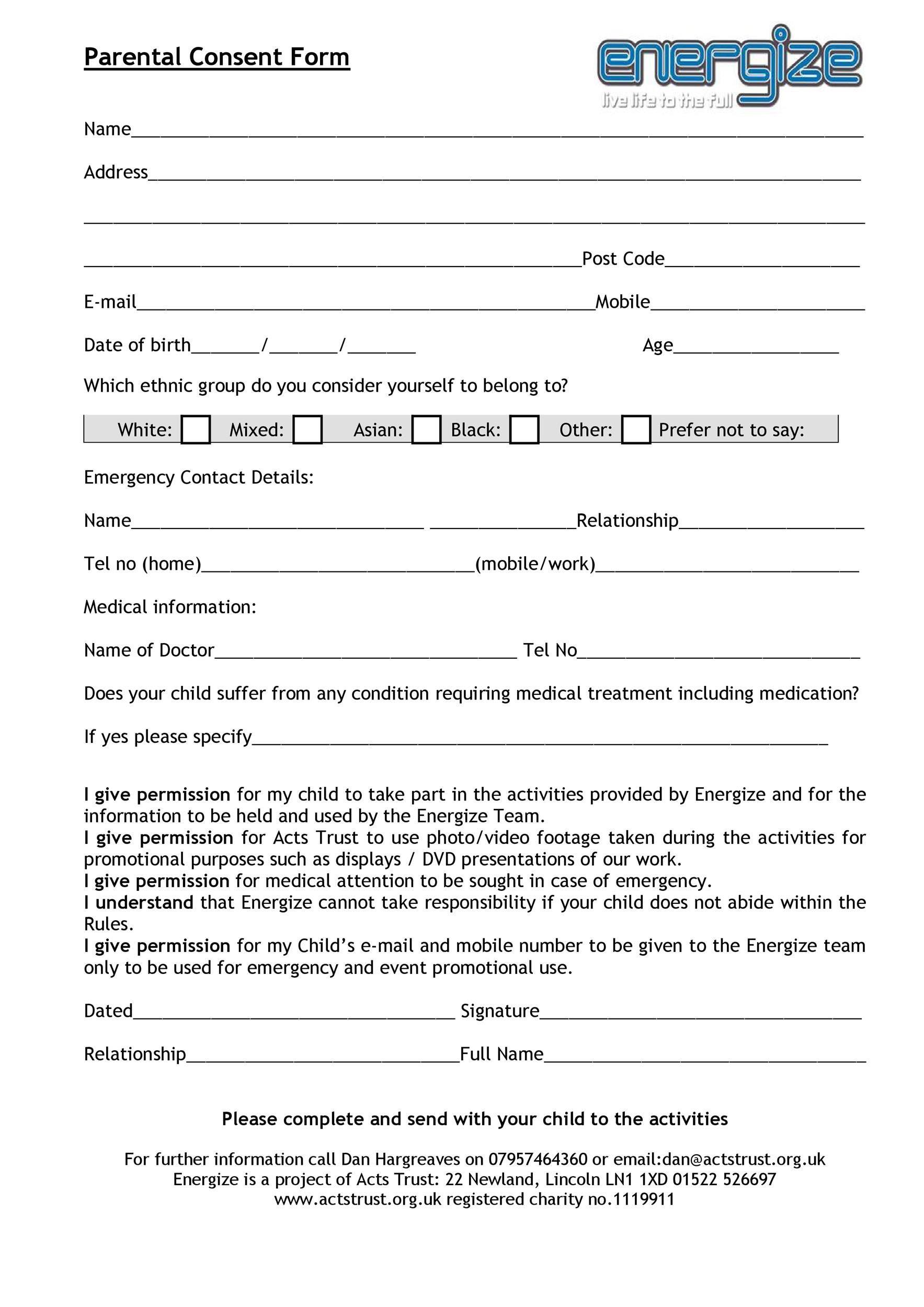 006 Impressive Free Medical Consent Form Template Concept  Child Pdf UkFull