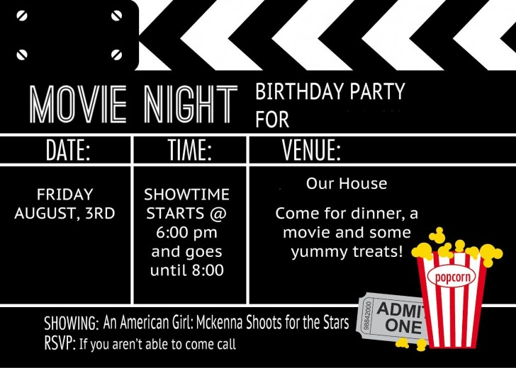 006 Impressive Free Printable Movie Ticket Birthday Party Invitation Picture 728