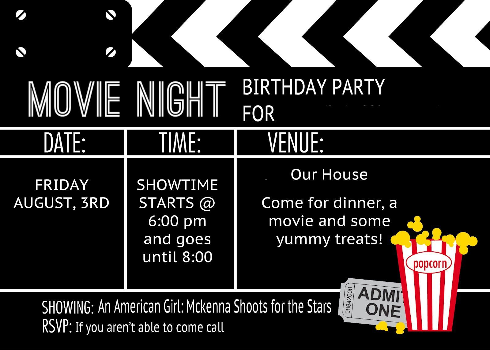 006 Impressive Free Printable Movie Ticket Birthday Party Invitation Picture Full