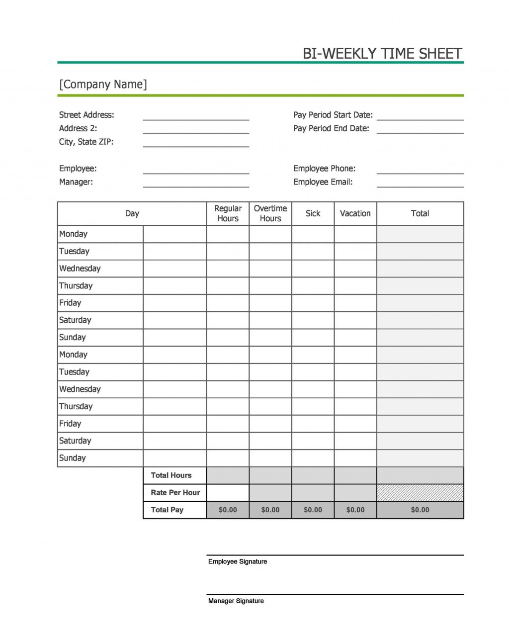 006 Impressive Free Weekly Timesheet Template Highest Quality  For Multiple Employee Biweekly Excel With FormulaLarge