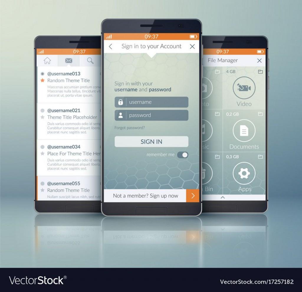 006 Impressive Mobile App Design Template Idea  Size Free Download Ui PsdLarge