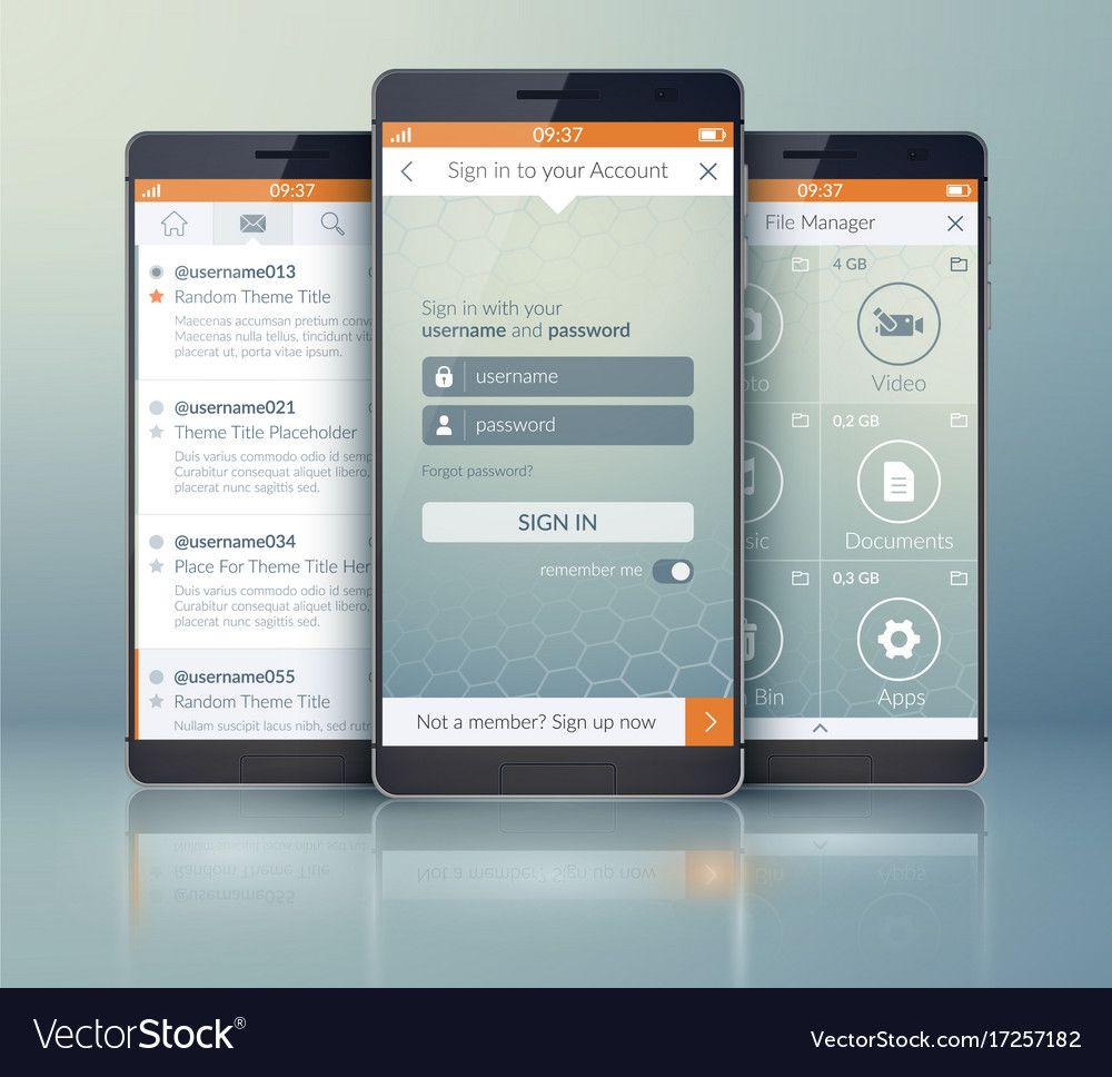006 Impressive Mobile App Design Template Idea  Size Free Download Ui PsdFull