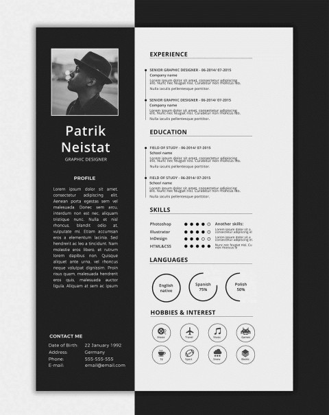 006 Impressive One Page Resume Template Concept  Word Free For Fresher Ppt Download Html480