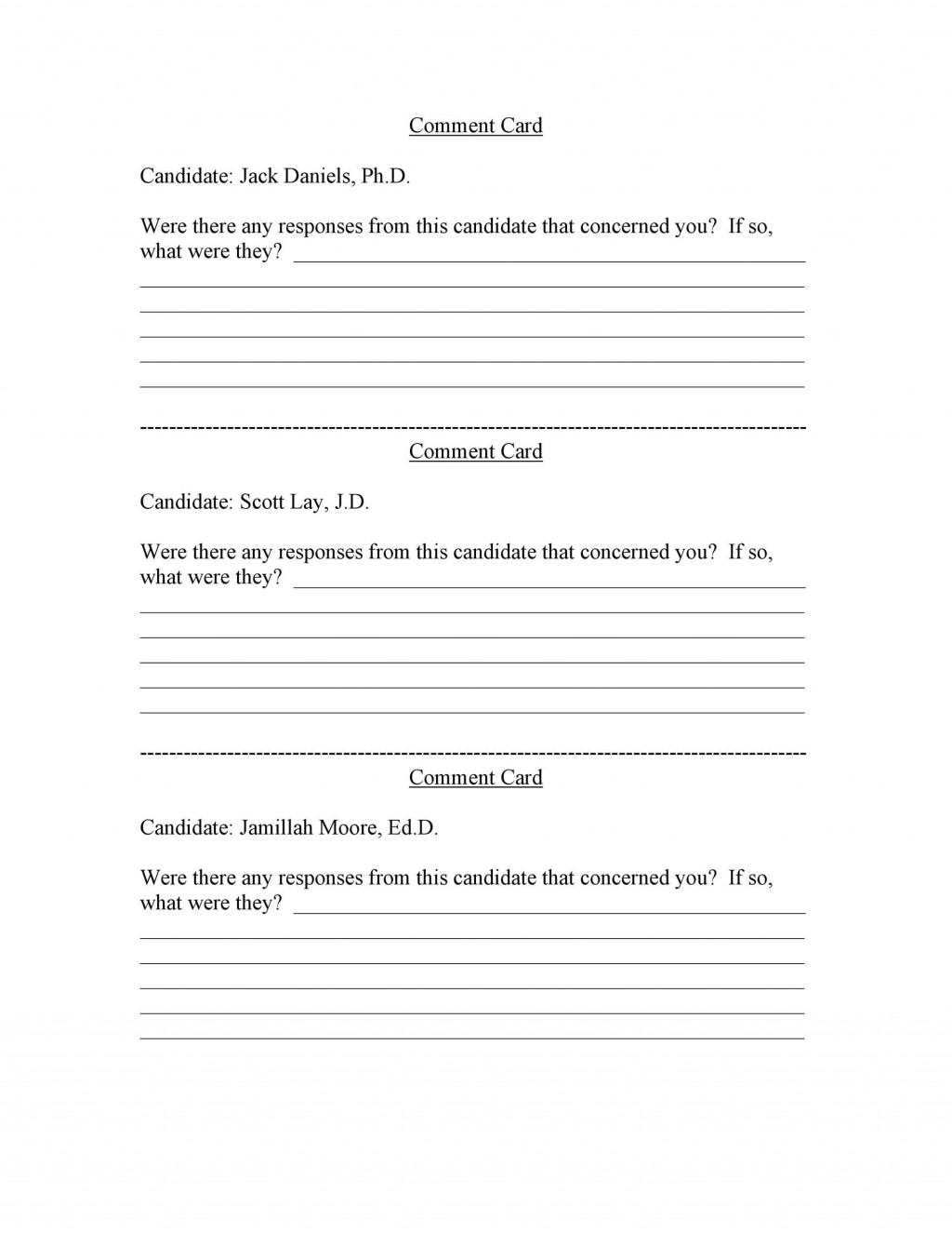 006 Impressive Restaurant Comment Card Template For Word Picture Large