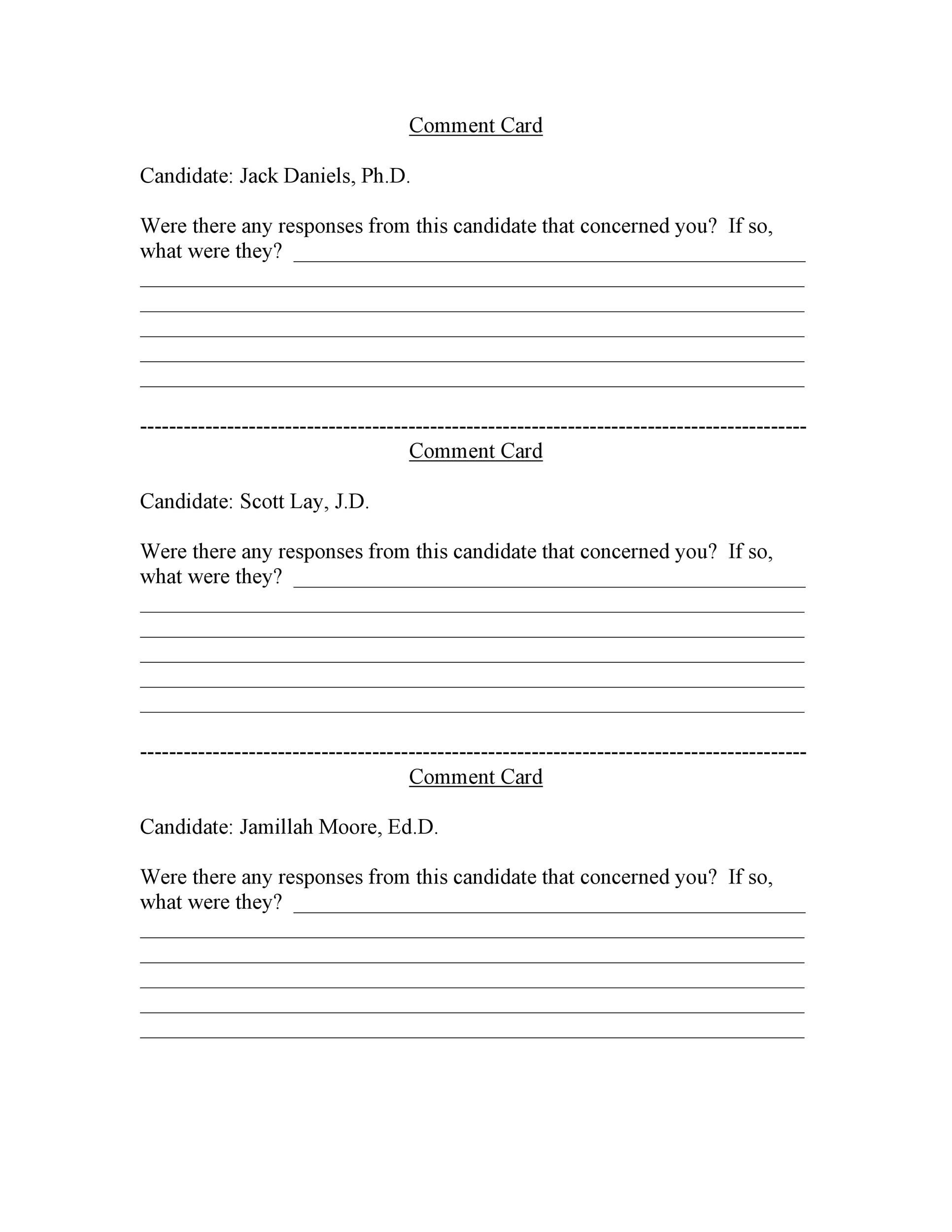 006 Impressive Restaurant Comment Card Template For Word Picture Full